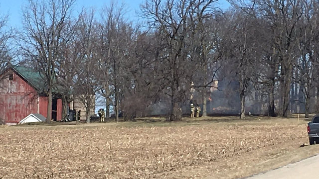 High winds complicate firefight; Home, shed destroyed by fire