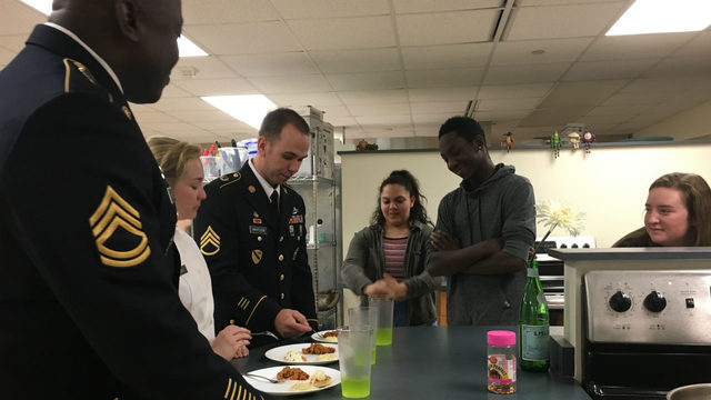 Pre-packaged Army meals used in student cook-off