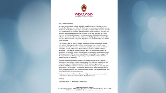 Outgoing UW student government chair: 'This institution does not care about people of color'