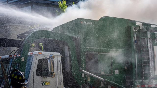 MFD: Burning recyclables dumped from truck to access, fight flames