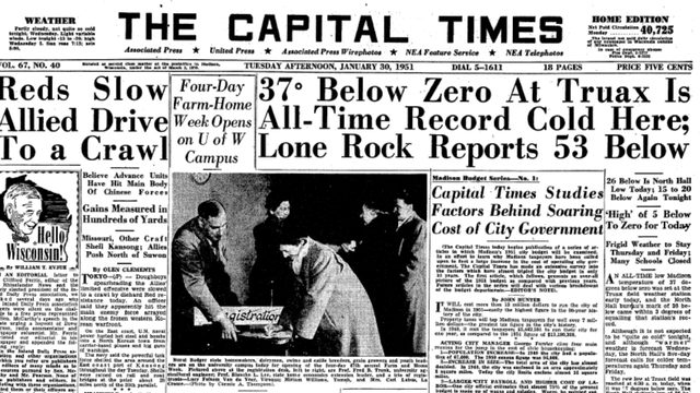 ARCHIVES: Headlines from 1951, the last time Madison experienced temperatures this cold