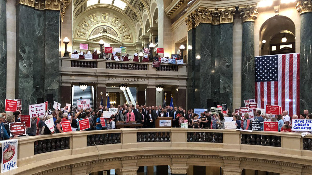 Evers still plans to veto bills following abortion opponent rally