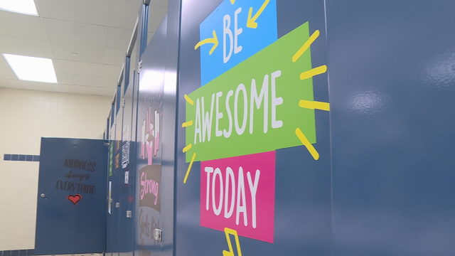 Bathroom stalls outfitted with positive messages at Marshall Elementary