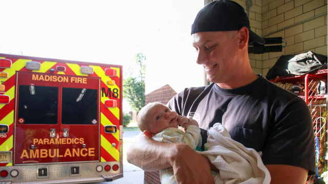 Baby reunited with first responders months after difficult delivery