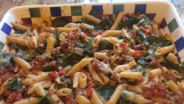 Donna's Baked Ziti with Tomatoes and Spinach