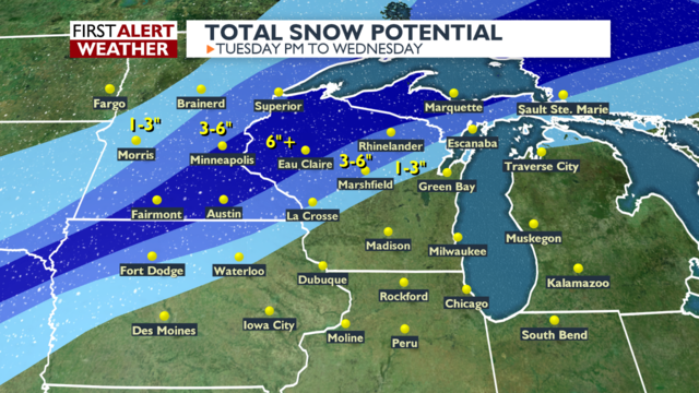 High winds, rain, thunderstorms and heavy snow affecting Midwest travel overnight, Wednesday morning