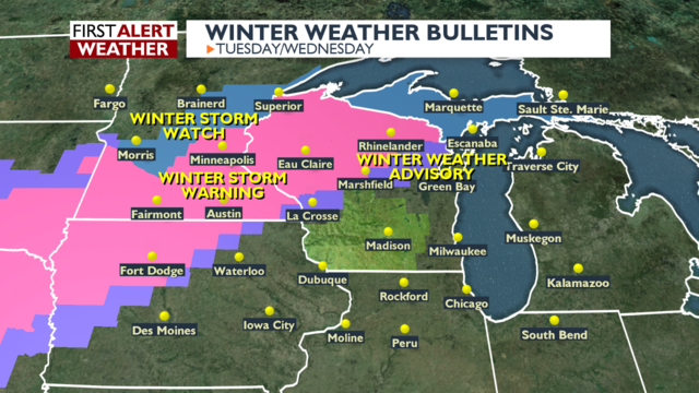 Winter storm to affect travel with snow in northwestern Wisconsin; rain, wind elsewhere