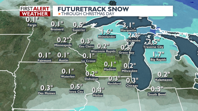 Very quiet weather through the Christmas holiday means little chance for white Christmas