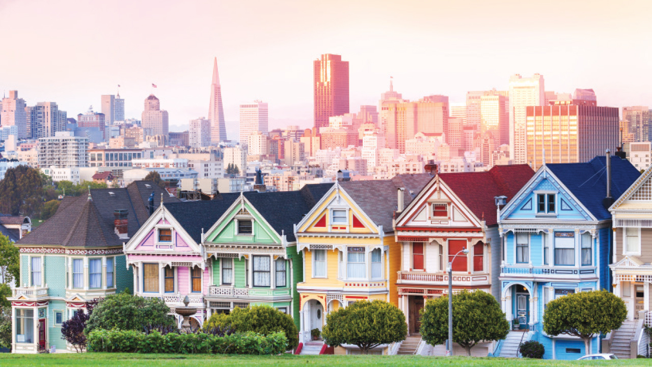 painted ladies, a line of houses, in San Francisco