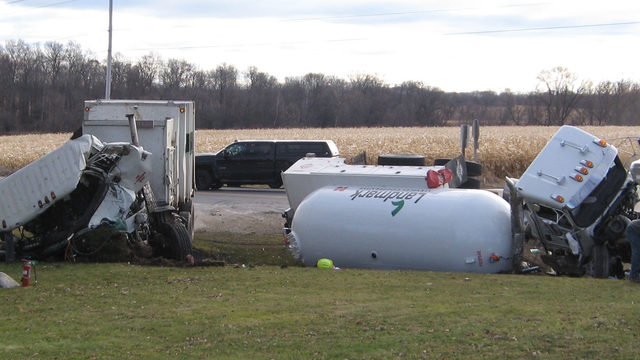 Two injured after fuel tanker, garbage truck collide, crash causes propane leak