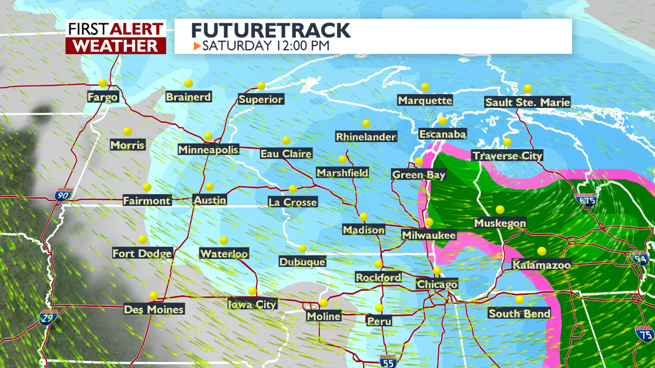 Futuretrack weather graphic for noon Saturday
