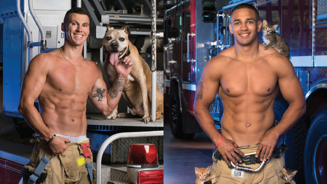 Two shirtless firefighters, one has a couple kittens, another has a dog named Toro
