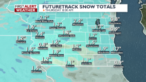 Snow accumulation by Thursday morning