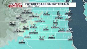Snow totals Friday morning