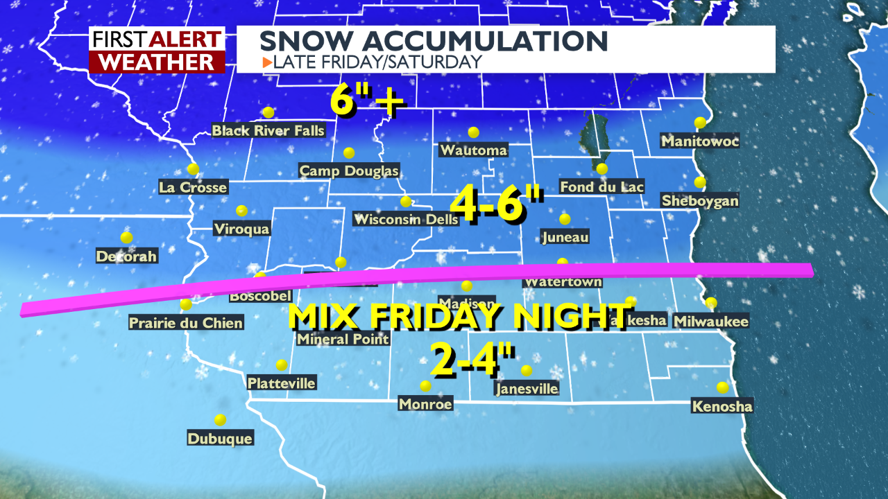 Snow Accumulation Friday to Saturday graphic