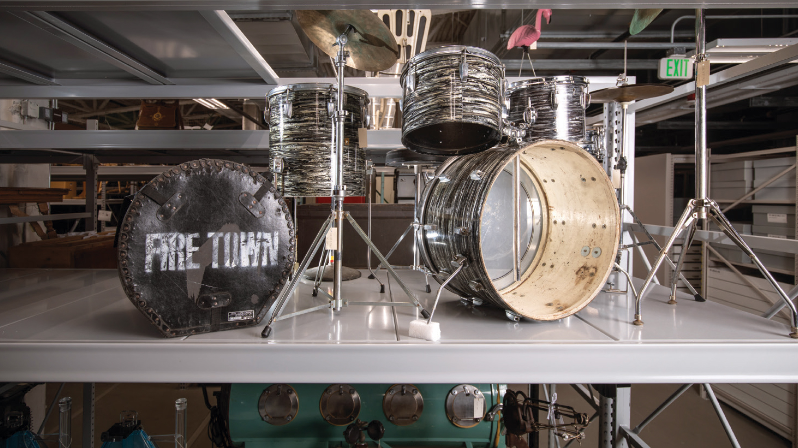 butch vig's drum set on a shelf