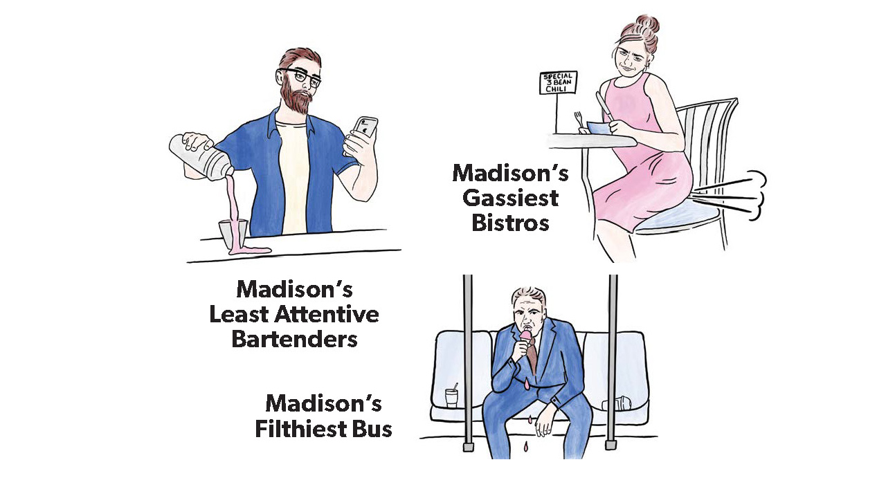 three small illustrations: one with a bartender holding his phone while trying to pour a drink, a woman farting at a bistro and a man sitting on a bus