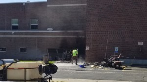 Aftermath of car into Beaver Dam Middle School