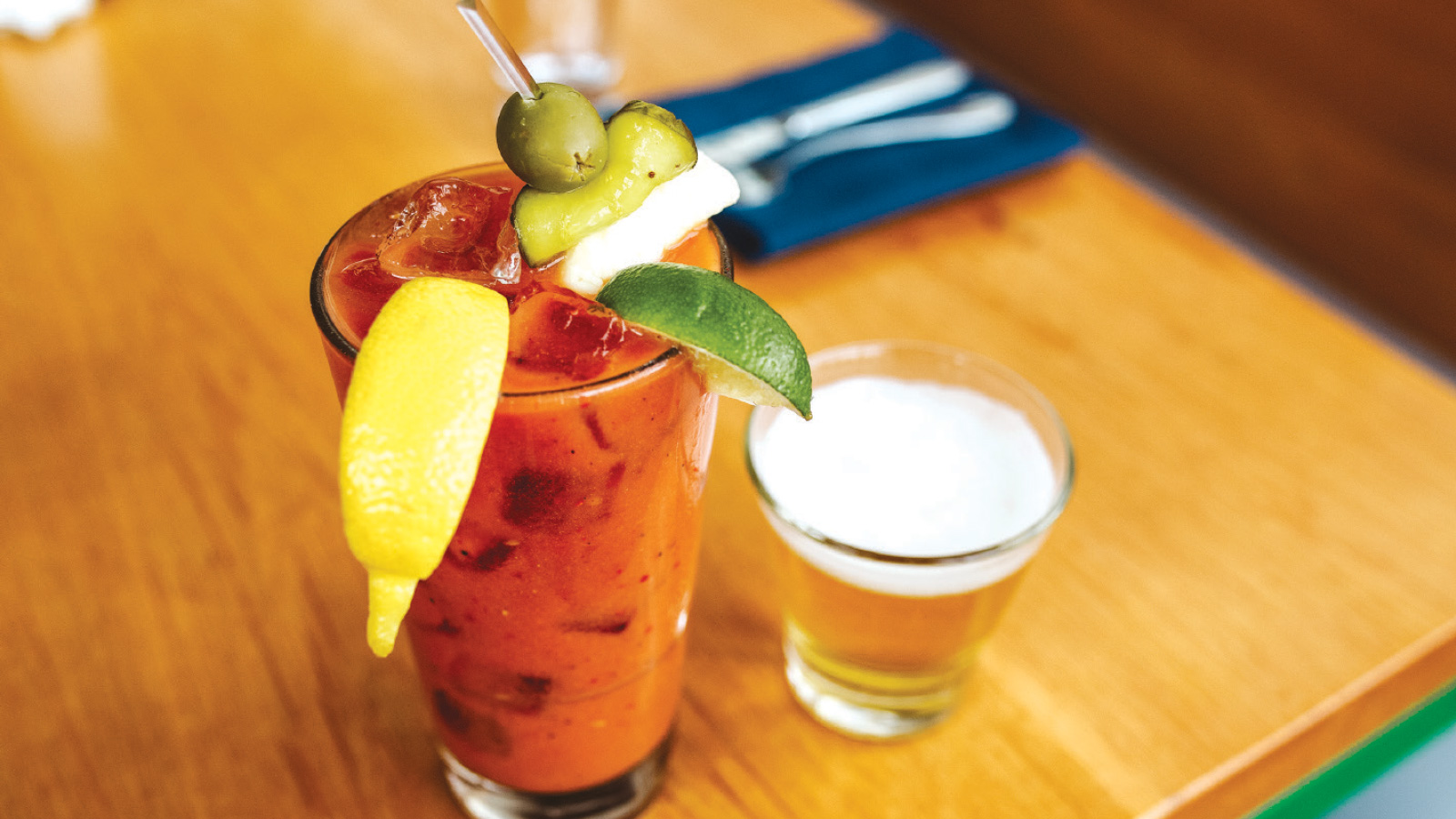 bloody mary with a shorty beer