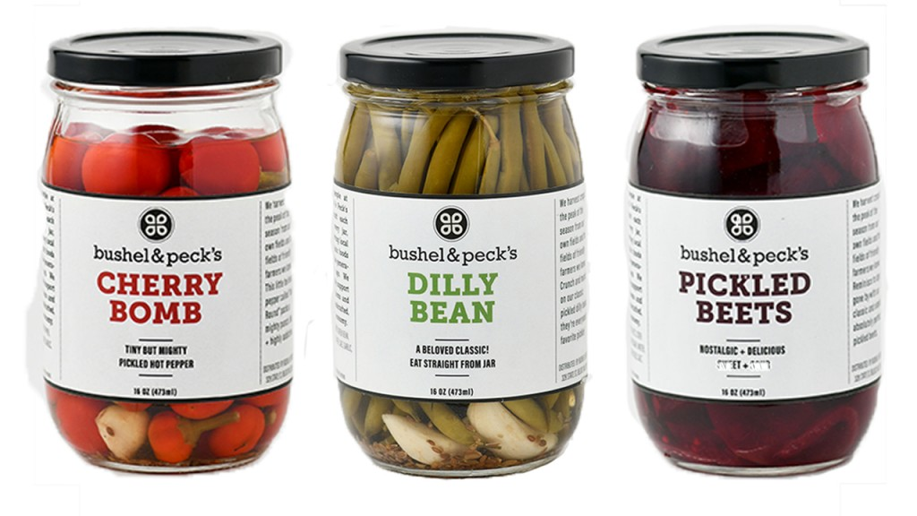 jars of cherry bombs, dilly beans, pickled beets