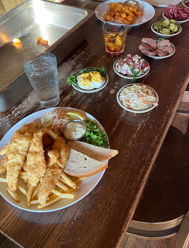 plates set out at the Old Fashioned before a shoot