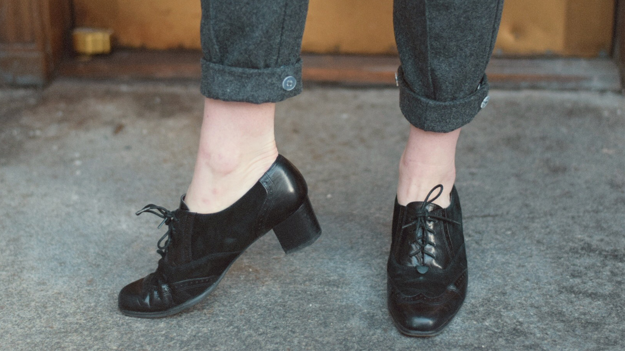 Close up of Mary Jane vintage shoes
