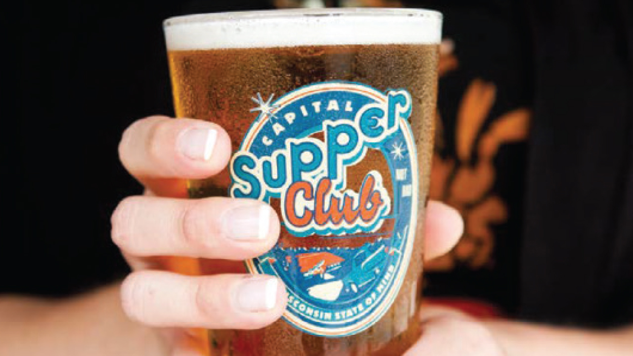 close up of supper club beer glass
