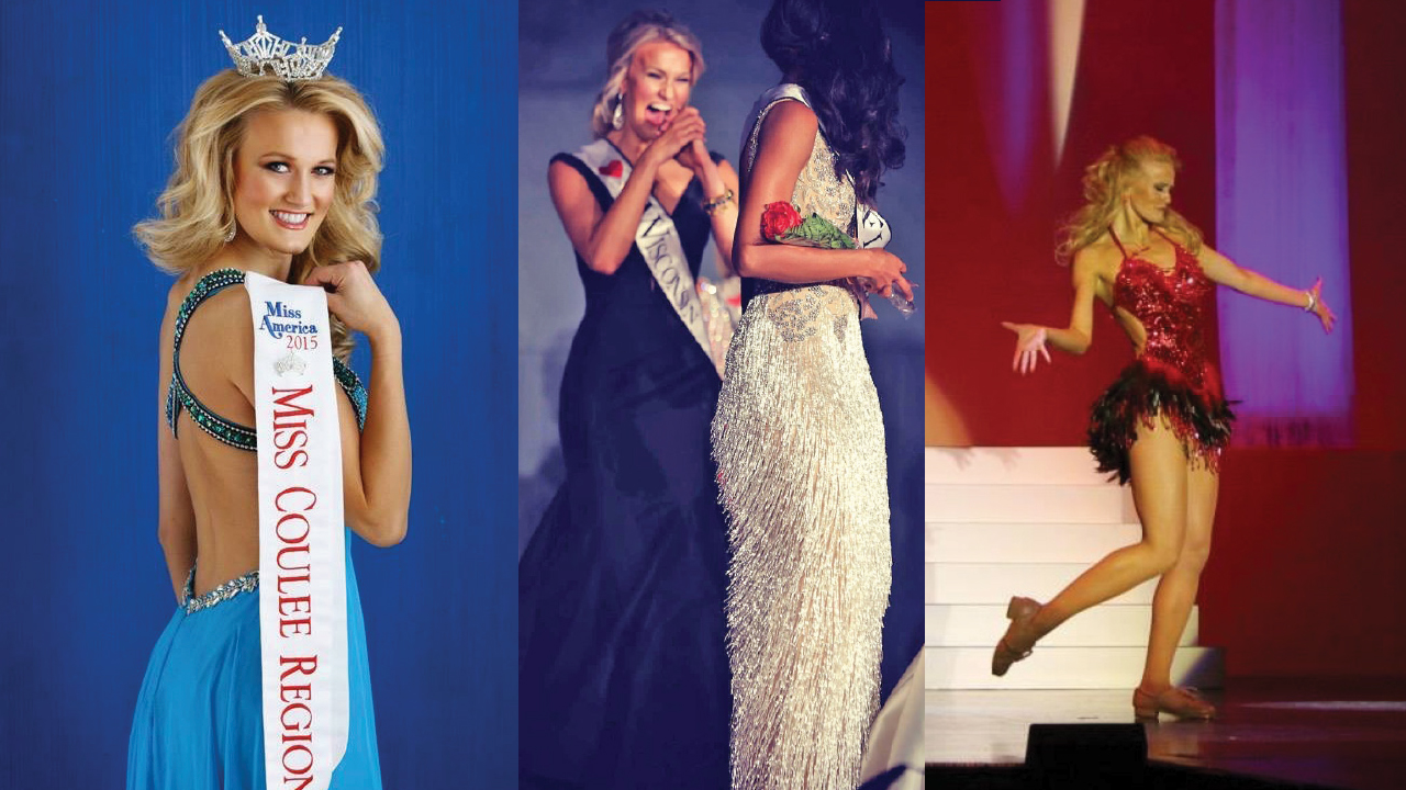 three different shots of Tara during her pageants