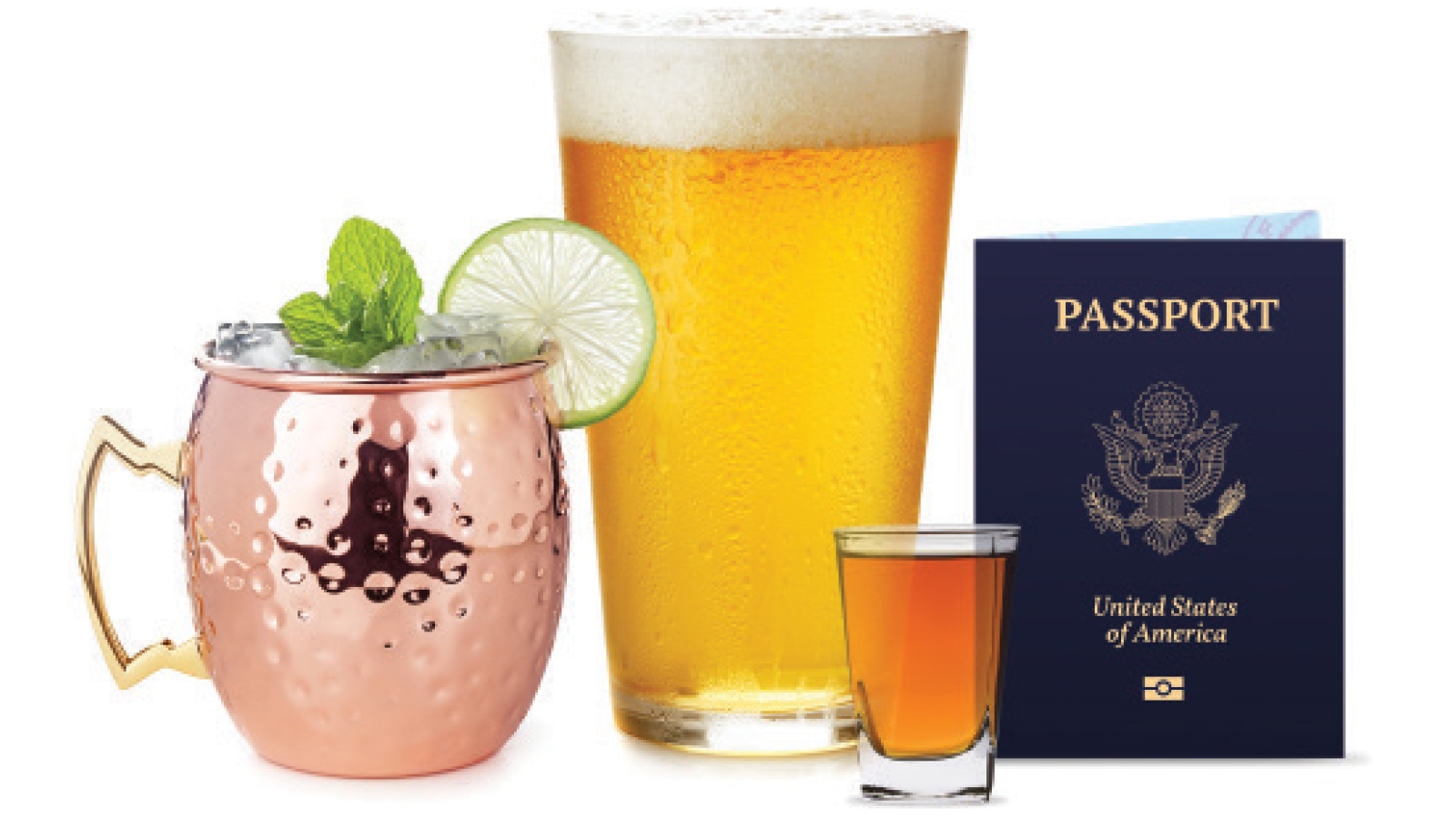 different drinks with a passport