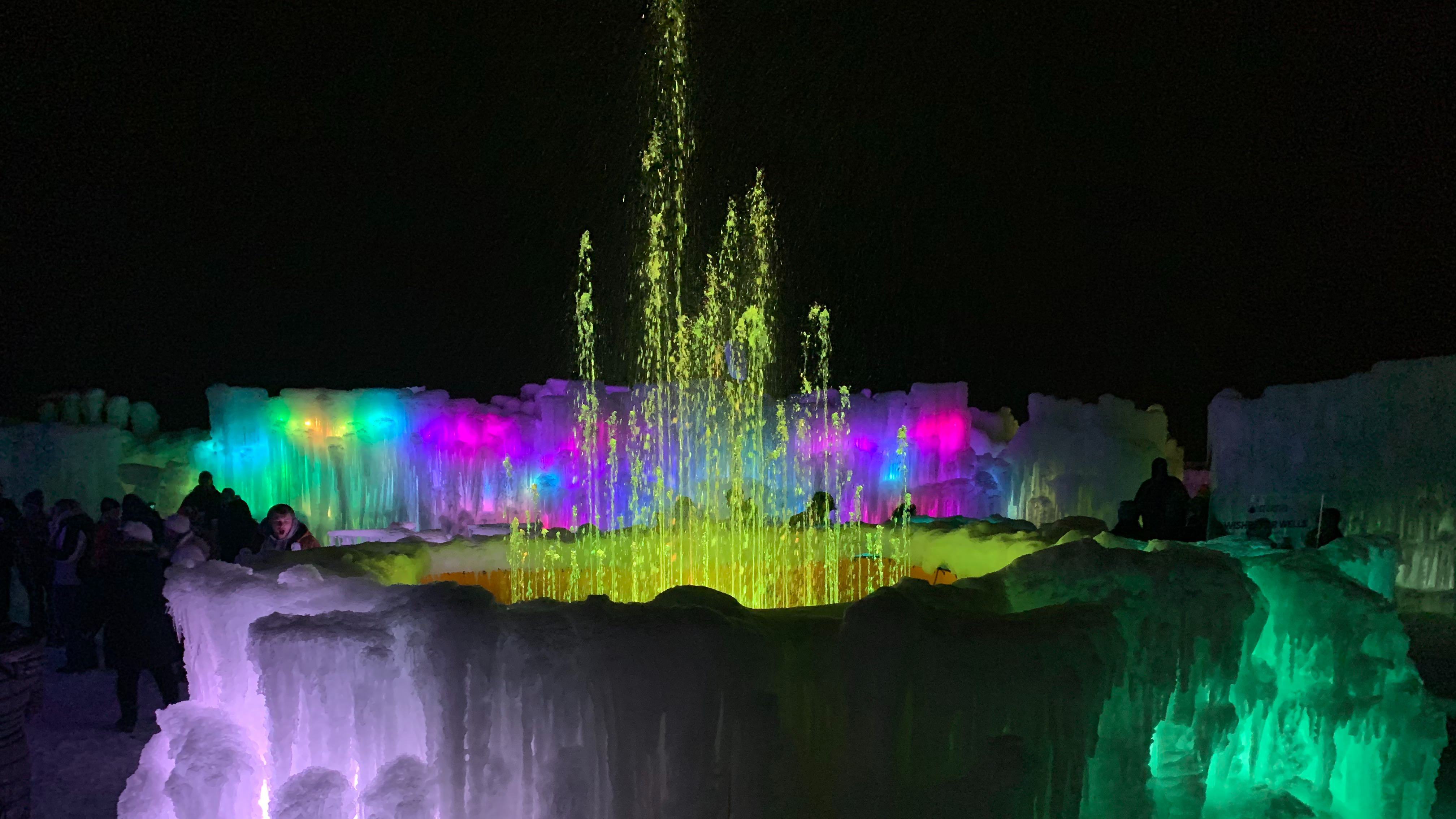 illuminated pieces of ice as part of the Lake Geneva ice castles