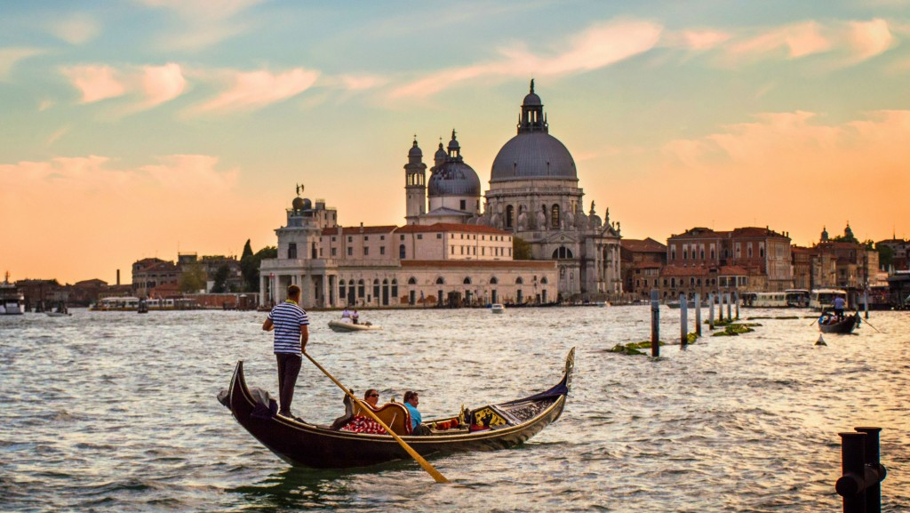 Gondoliers at Sunset