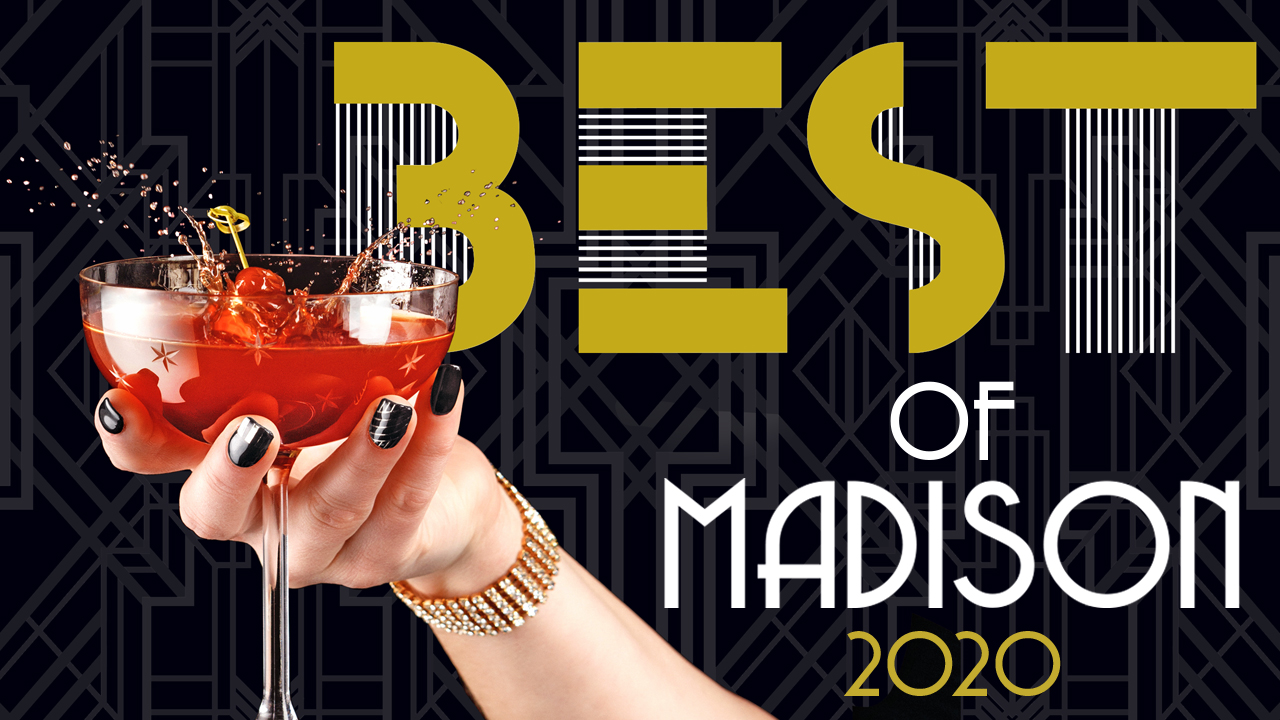 person holding a red cocktail with words best of madison 2020