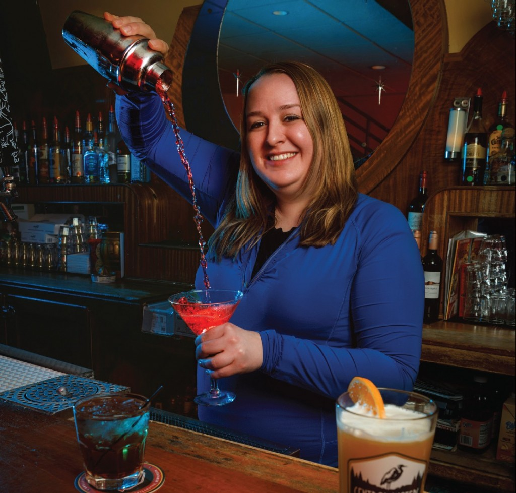 stephanie paull pouring a cocktail at blue moon