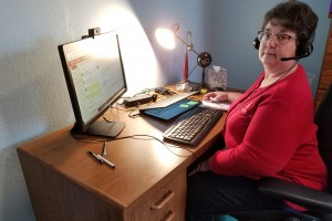 Gail Huycke is seen at her home office in Phillips, Wis.