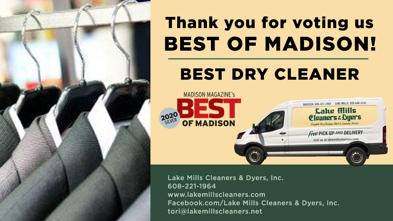 lake mills advertisement with its van and dry cleaned coats