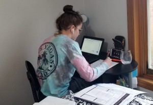 Anna Newcomer, 16, does homework in her rural home