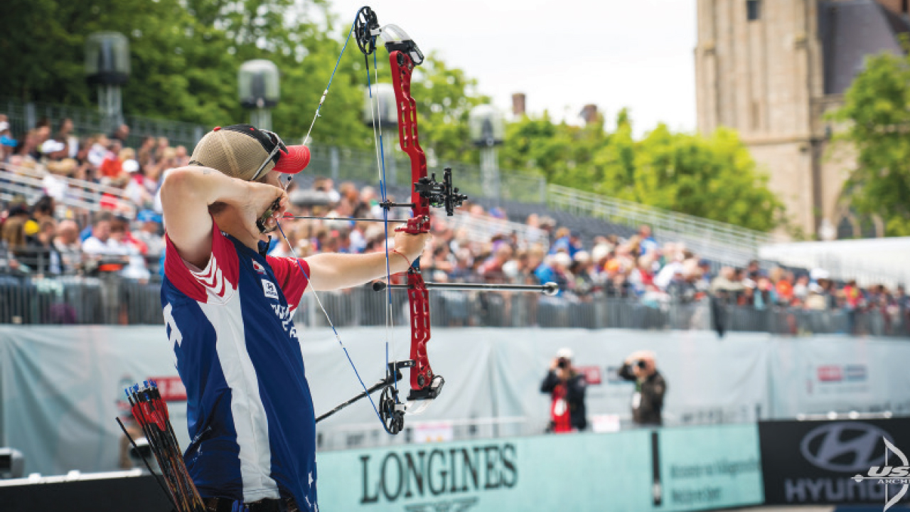 James Lutz competing at world archery championship