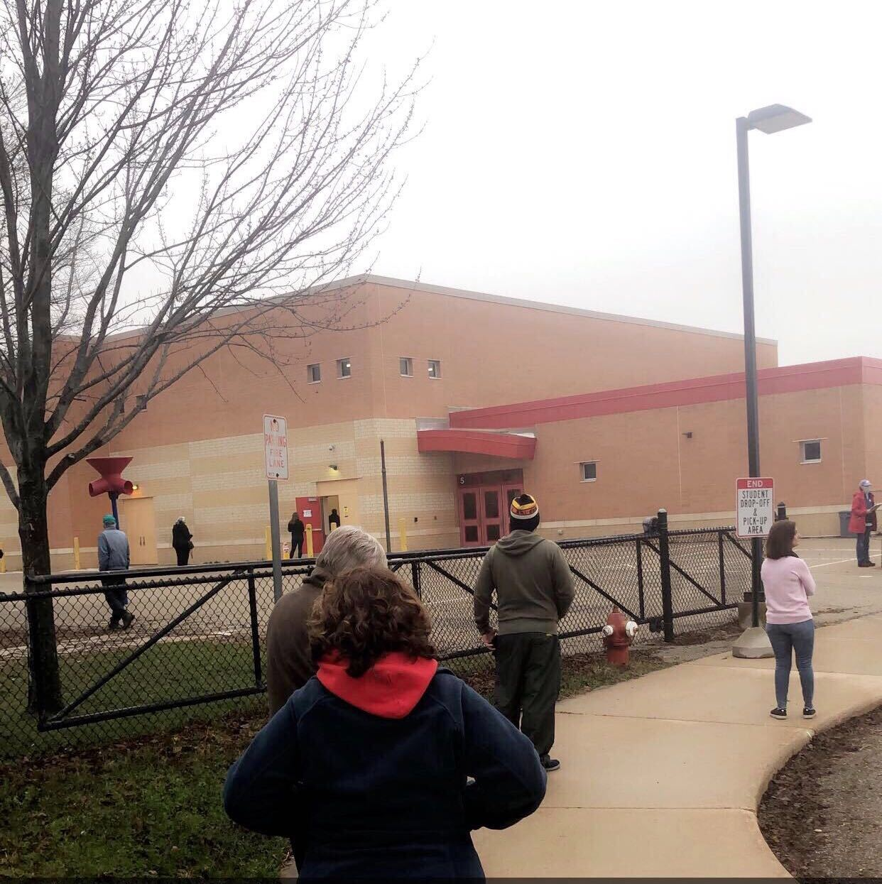 Line For Voters At Chavez Elementary School