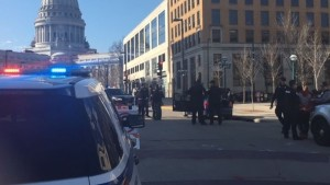 Police respond to an incident in downtown Madison