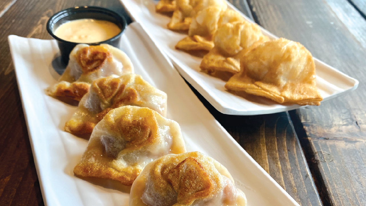two plates of dumplings