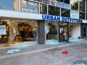 Glass at Urban Outfitters smashed on May 30