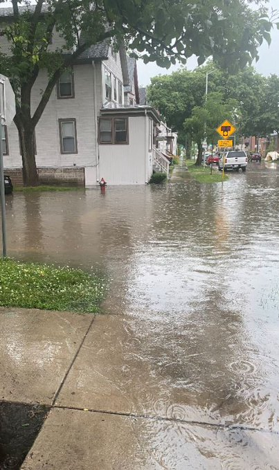 View of a flooded intersection in Madison