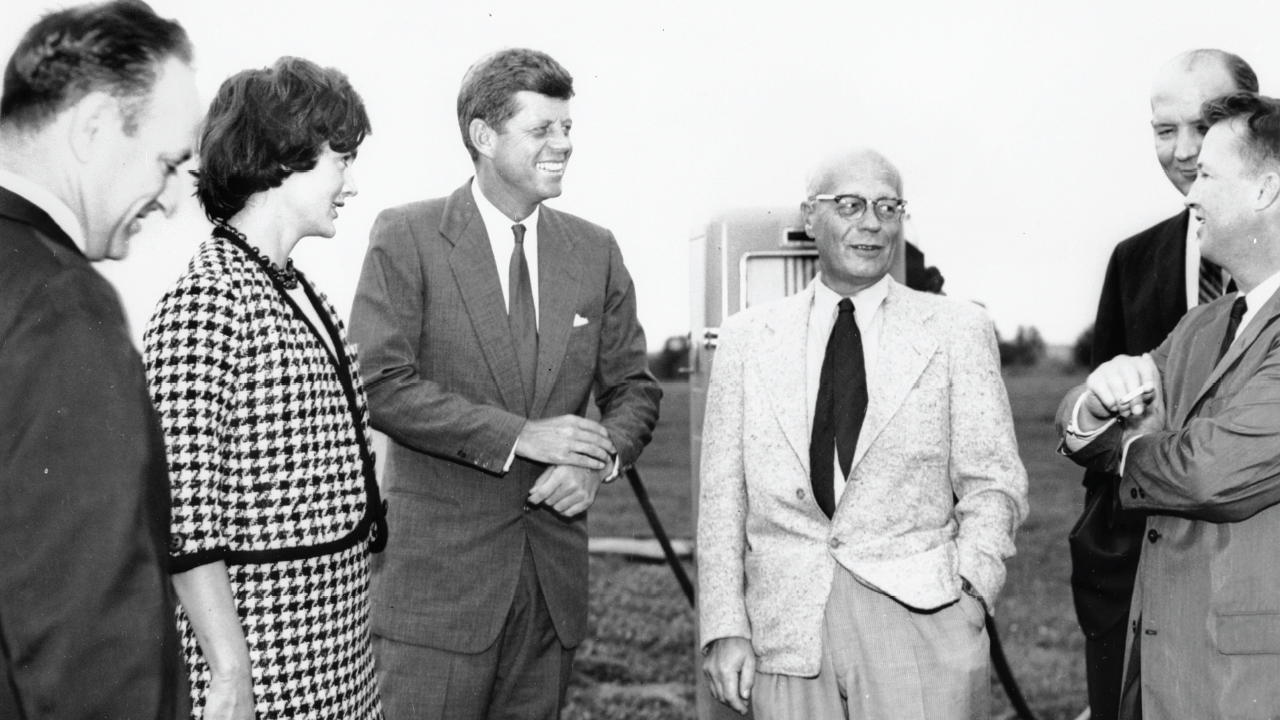 Senator John F. Kennedy with his wife, Jackie (third and second from left) meet with then Madison Mayor Ivan Nestigen (second from right) among others.