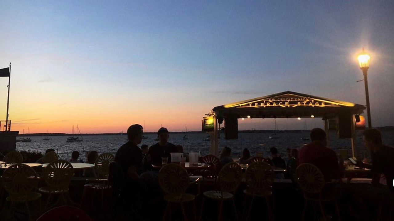 sunset at the Memorial Union Terrace