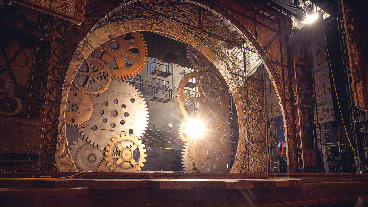 the set of wicked on the stage