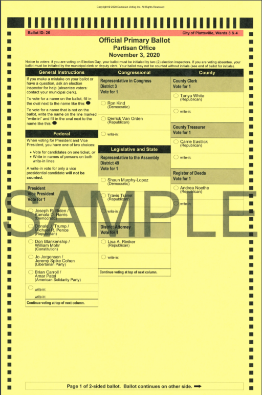 A Misprinted Sample Ballot