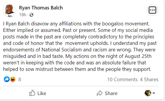 In this Facebook post after the Aug. 25, 2020 fatal shooting of two protesters and wounding of a third, Ryan Balch apologizes for social media posts promoting white supremacy. Balch was among the militia members in Kenosha who answered a call to protect the city that day.