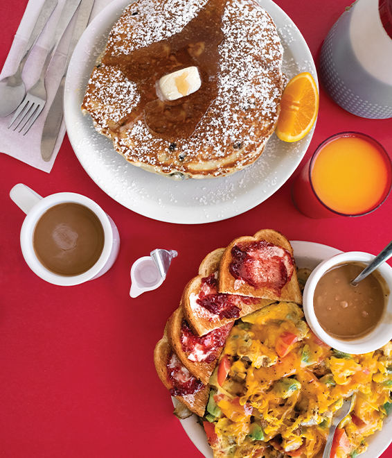 scramble and pancakes with coffee