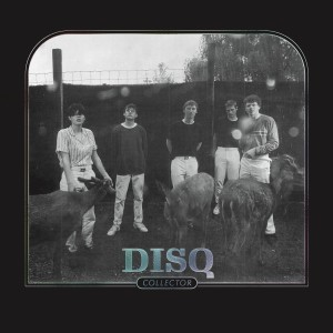 "The cover of Disq's new album, ""Collector,"" includes the five band members standing beside several goats in a Wisconsin Dells park."