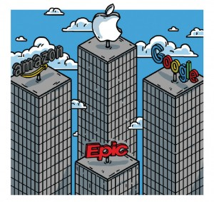 illustration of four skyscapers, three are amazon, apple and google, below them is epic